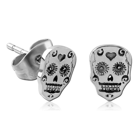 Stainless Sugar Skull Earrings