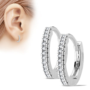 Thin CZ Paved Hinged Hoop Earrings