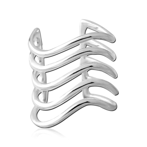 Sterling Silver Five Wave Ear Cuff