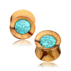 Turquoise Inlay Olive Wood Plugs