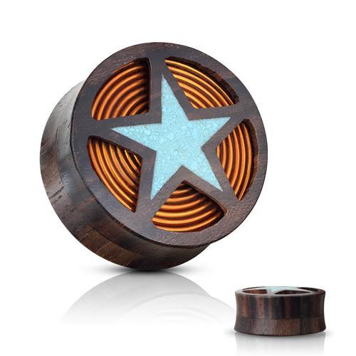 Crushed Turquoise Star & Copper Coil Wood Plugs