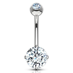 White 14k Gold Round CZ Belly Ring