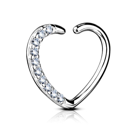 White 14k Gold CZ Heart Ring