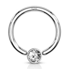 16g White 14k Gold Captive Bead Ring w/ CZ