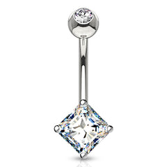 White 14k Gold Square CZ Belly Ring