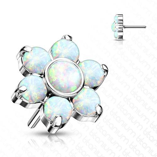 Threadless Titanium Opal Flower