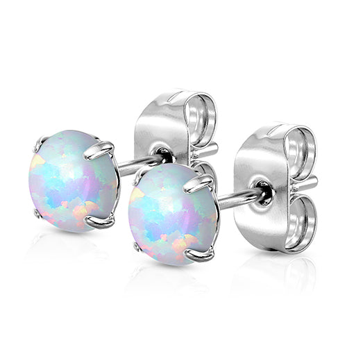 Pair of Round Synthetic Opal Bezel Set 316L Stainless Steel Stud Earrings 20g