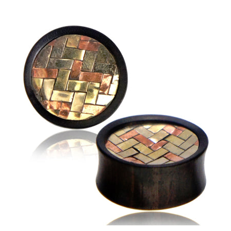 Woven Metals Inlay Arang Wood Plugs