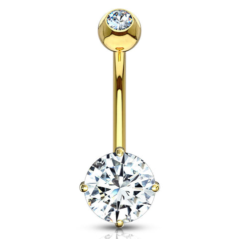 Yellow 14k Gold Round CZ Belly Ring