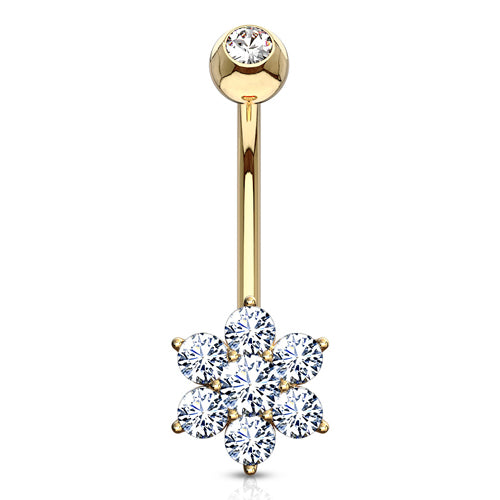 Yellow 14k Gold Flower CZ Belly Ring