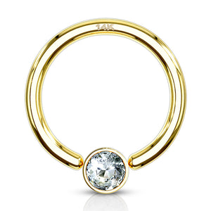 16g Yellow 14k Gold Captive Bead Ring w/ CZ