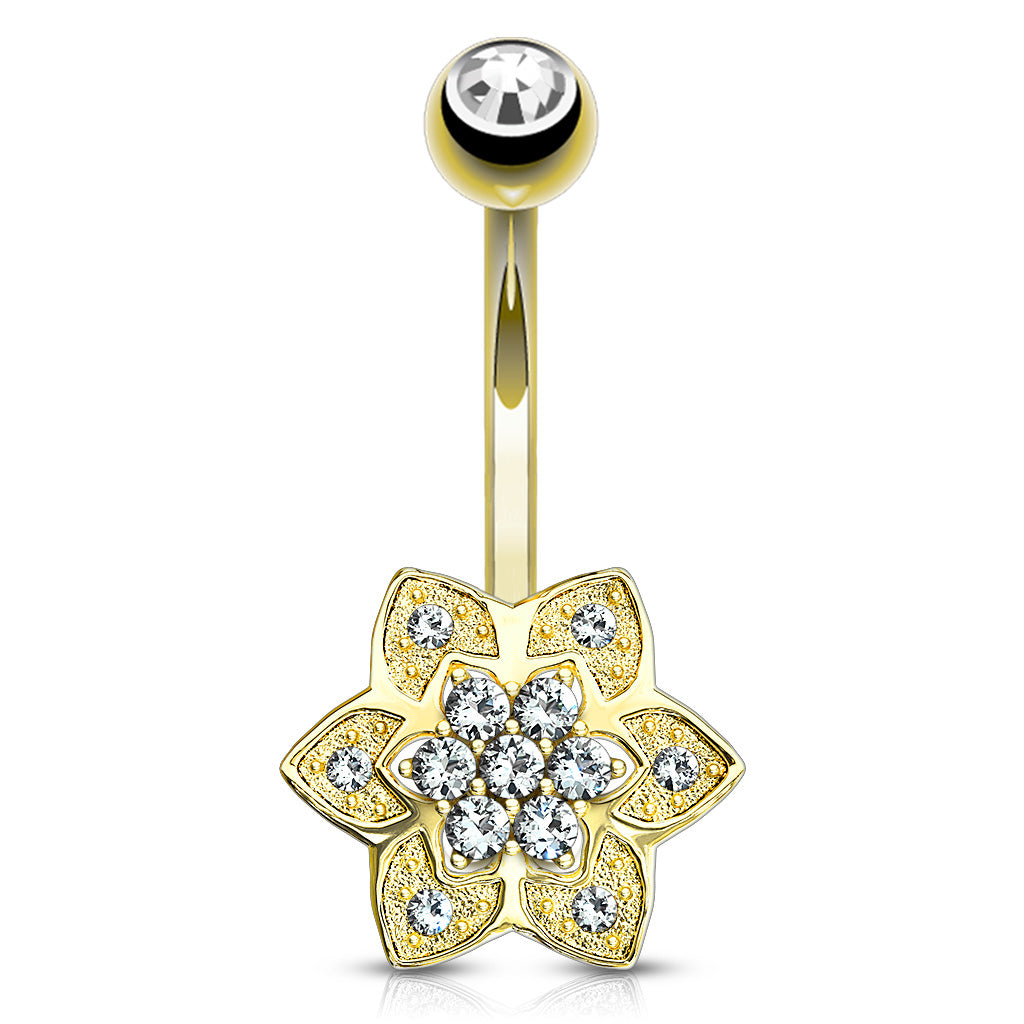 Yellow 14k Gold CZ Flower Belly Ring