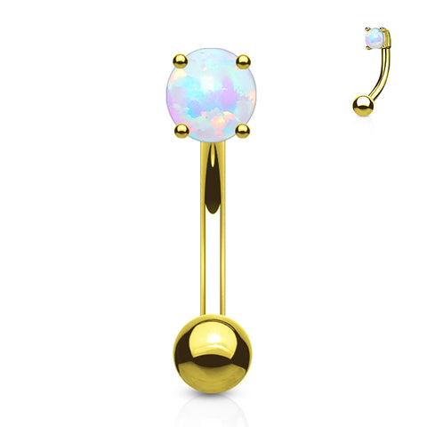 Yellow 14k Gold Opal Eyebrow Ring