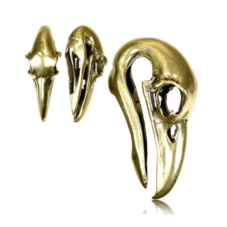 Yellow Brass Crow Skull Hangers