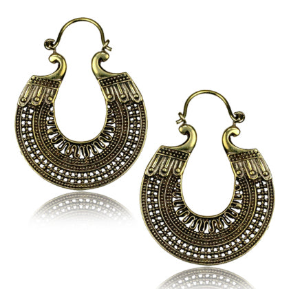 Yellow Brass Boho Earrings