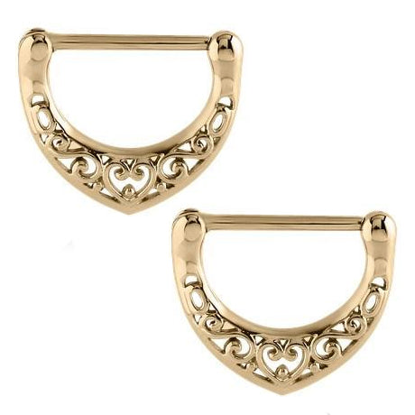 Zircon Gold Filigree Heart Nipple Clickers