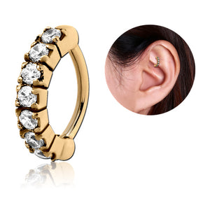 Zircon Gold CZ Paved Cartilage Clicker