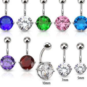 Round CZ Belly Ring