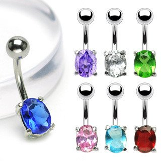 Oval CZ Belly Ring