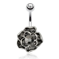 Black Rose Belly Ring