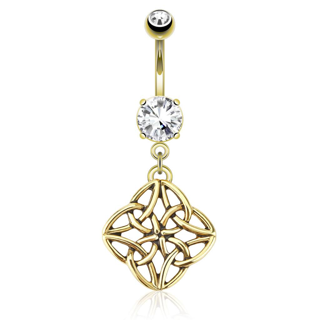 Gold Plated Celtic Knot Belly Dangle