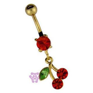Gold Plated Cherry Belly Dangle