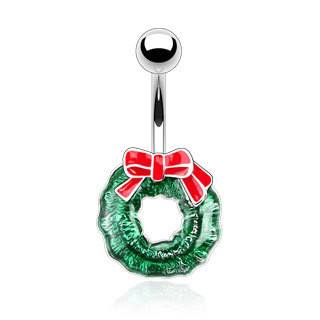 Christmas Wreath Belly Ring