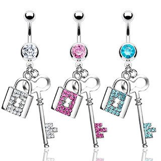 CZ Lock & Key Belly Dangle
