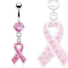 CZ Pink Ribbon Belly Dangle