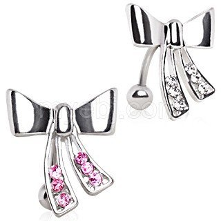 CZ Ribbon Reverse Belly Ring