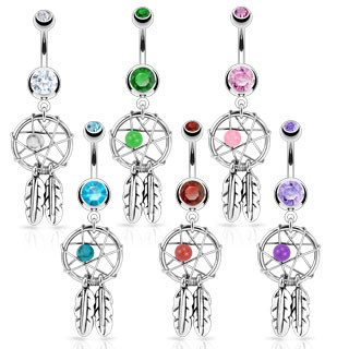 Belly Ring - 14g Dreamcatcher CZ Belly Dangle