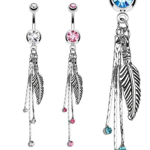 Feather CZ Belly Dangle