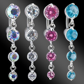 Belly Ring - 14g Four CZ Reverse Belly Dangle