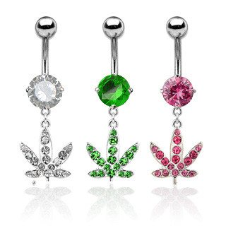 Belly Ring - 14g Ganja Bling Belly Dangle