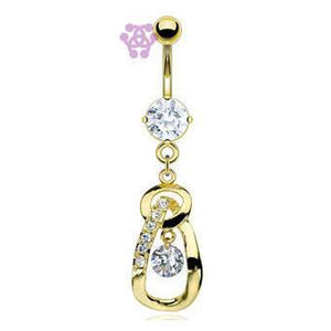 Gold Plated CZ Loop Belly Dangle