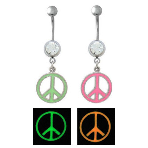 Glow-in-the-Dark Peace Sign Belly Dangle