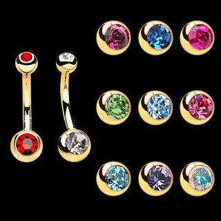 Belly Ring - 14g Gold Plated Belly Rings W/ 4&6mm Gem Balls