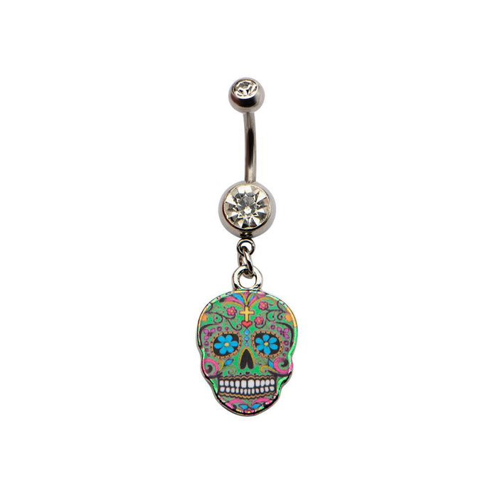 Green Sugar Skull Belly Dangle