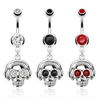 Belly Ring - 14g Headphones Skull Belly Dangle