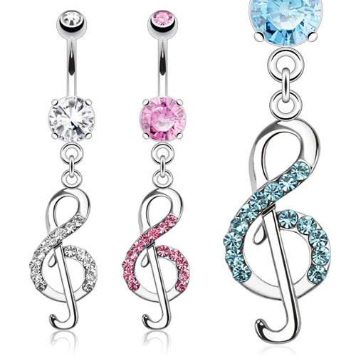 Musical Note CZ Belly Dangle