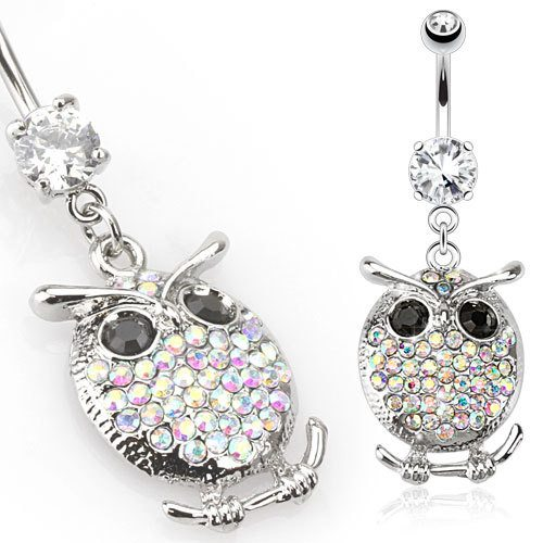 Opalescent CZ Owl Belly Dangle