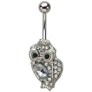Owl CZ Belly Ring