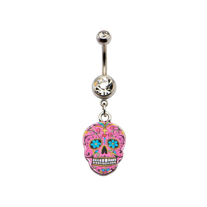 Pink Sugar Skull Belly Dangle