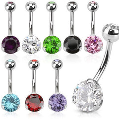 Prong-set CZ Belly Ring