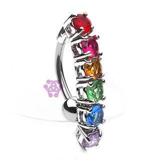 Rainbow Gem Reverse Belly Dangle