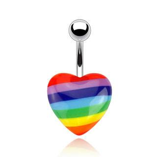 Rainbow Heart Belly Ring