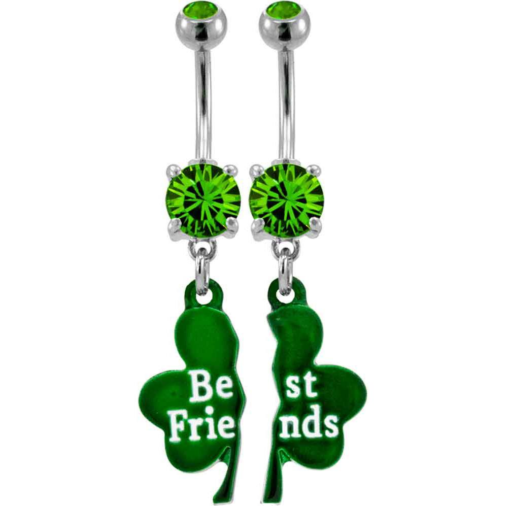 Belly Ring - 14g Shamrock Friendship Belly Dangles