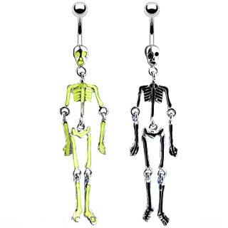 Glow-in-the-Dark Skeleton Belly Dangle