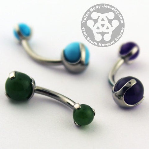 Titanium Prong-set Gemstone Belly Ring by Industrial Strength