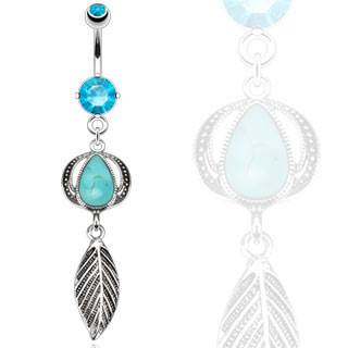 Turquoise & Leaf Belly Dangle